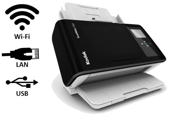 Scanner Rede A4  Kodak ScanMate i1150WN - 30 ppm, ADF 75 Folhas e Ciclo de 3000 Folhas/dia
