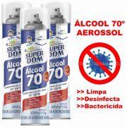 ÁLCOOL 70º SPRAY AEROSSOL 300ML - DESINFETANTE BACTERICIDA - 3 UNIDADES