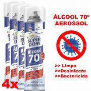 ÁLCOOL 70º SPRAY AEROSSOL 300ML - DESINFETANTE BACTERICIDA - 4 UNIDADES