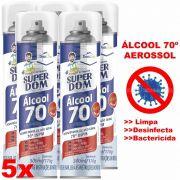 ÁLCOOL 70º SPRAY AEROSSOL 300ML - DESINFETANTE BACTERICIDA - 5 UNIDADES