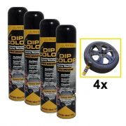 KIT 4 DIP COLOR PRETO BRILHANTE ENVELOPAMENTO LIQUIDO 400ML