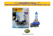 LÂMPADA HALÓGENA H11 WHITE LIGHT (SUPER BRANCA)  55W  12V - 100% ORIGINAL HELLA