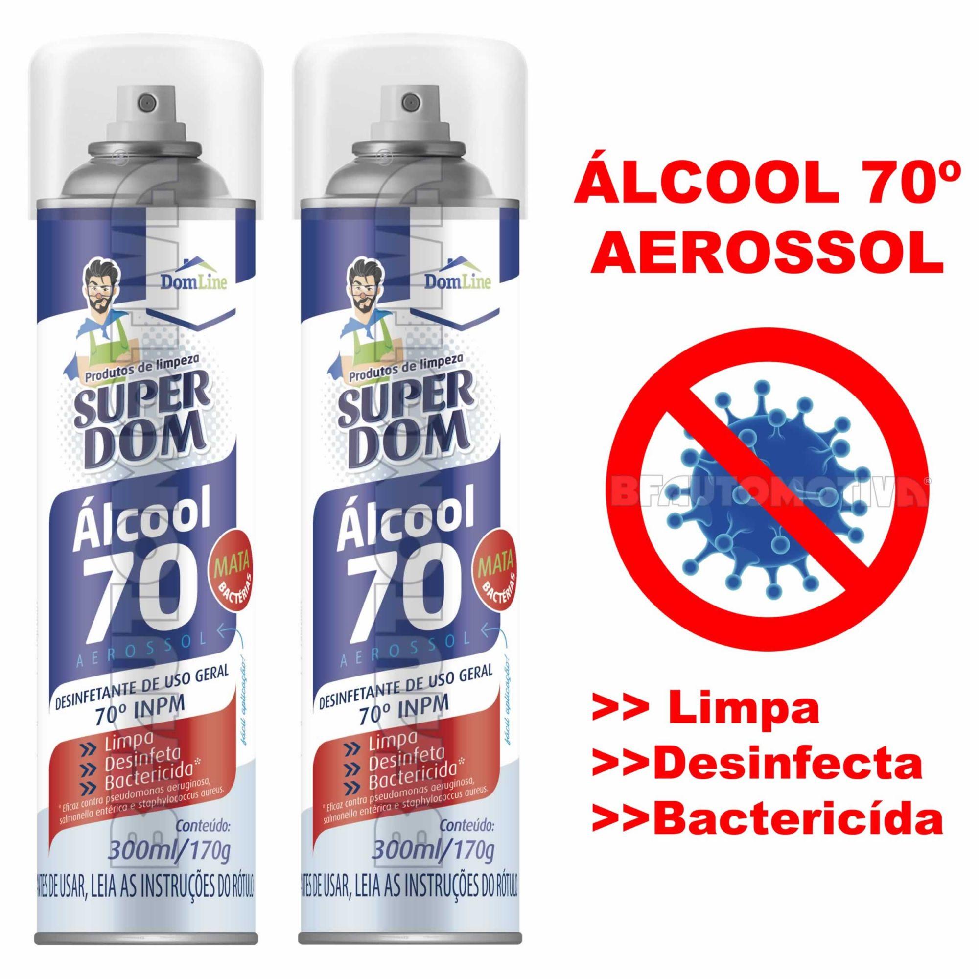 ÁLCOOL 70º SPRAY AEROSSOL 300ML - DESINFETANTE BACTERICIDA - 2 UNIDADES