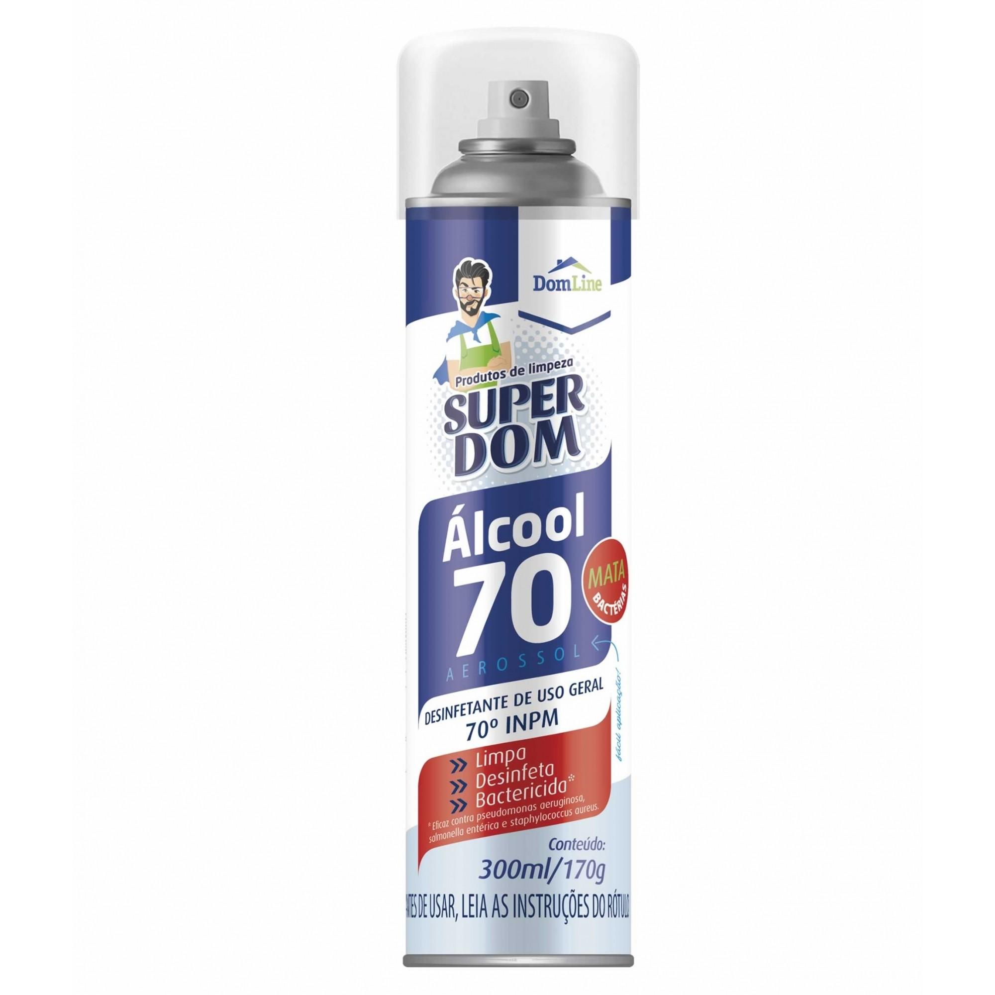 ÁLCOOL 70º SPRAY AEROSSOL 300ML - DESINFETANTE BACTERICIDA