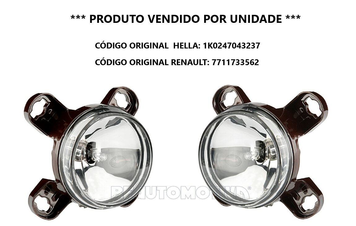 FAROL DE NEBLINA 90MM RENAULT DUSTER / OROCH COM PACK OUTSIDER  A PARTIR DE 2018 - 100% ORIGINAL HELLA