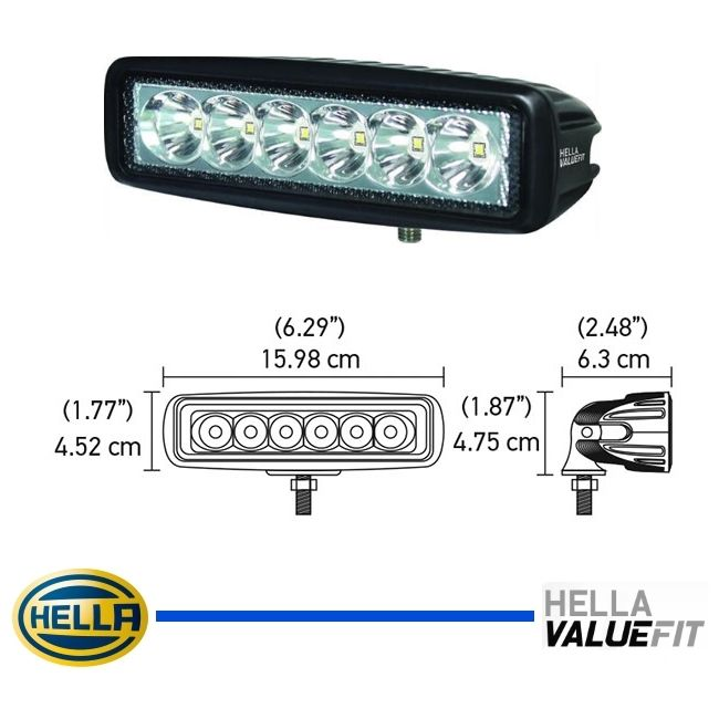 FAROL MILHA AUXILIAR MINI BARRA DE LED - 6 LEDS - 6000 K - 1000 LUMENS - 12V 24V - ORIGINAL HELLA