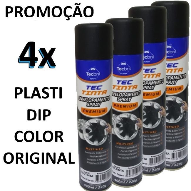 KIT 4 - PLASTI DIP COLOR PRETO FOSCO TINTA ENVELOPAMENTO LIQUIDO 400ML ORIGINAL