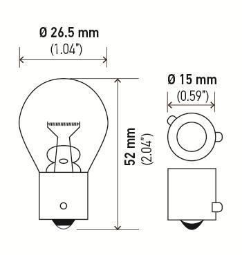 LAMPADA 12V 21W 1 POLO (AM) PINO TRANSVERSAL