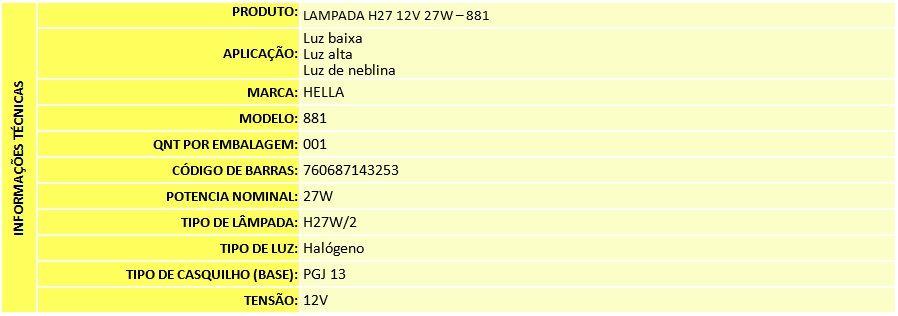LAMPADA H27 12V 27W