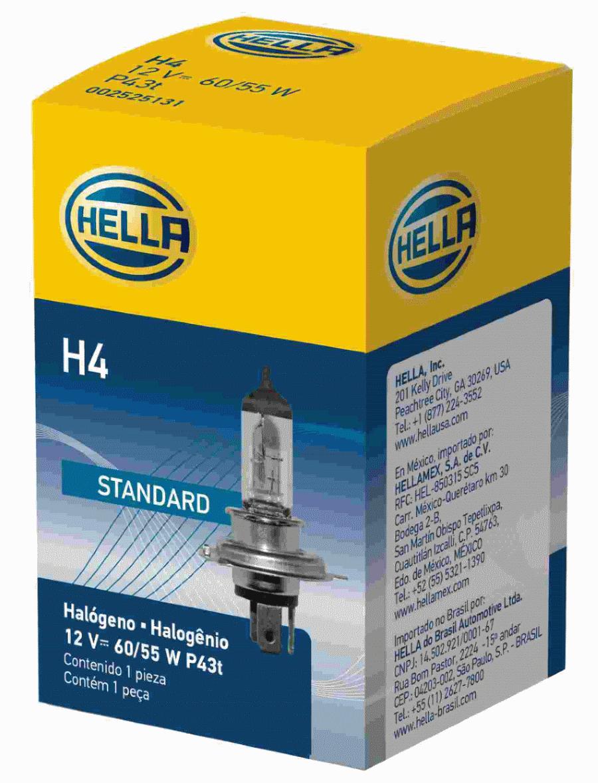 LAMPADA H4 12V 60/55W ORIGINAL HELLA - 10 UNIDADES