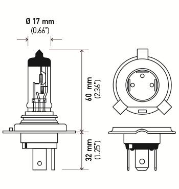 LAMPADA H4 24V 75/70W ORIGINAL HELLA - 2 UNIDADES