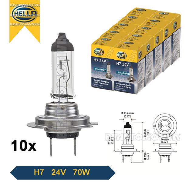 LAMPADA H7 24V 70W ORIGINAL HELLA - 10 UNIDADES