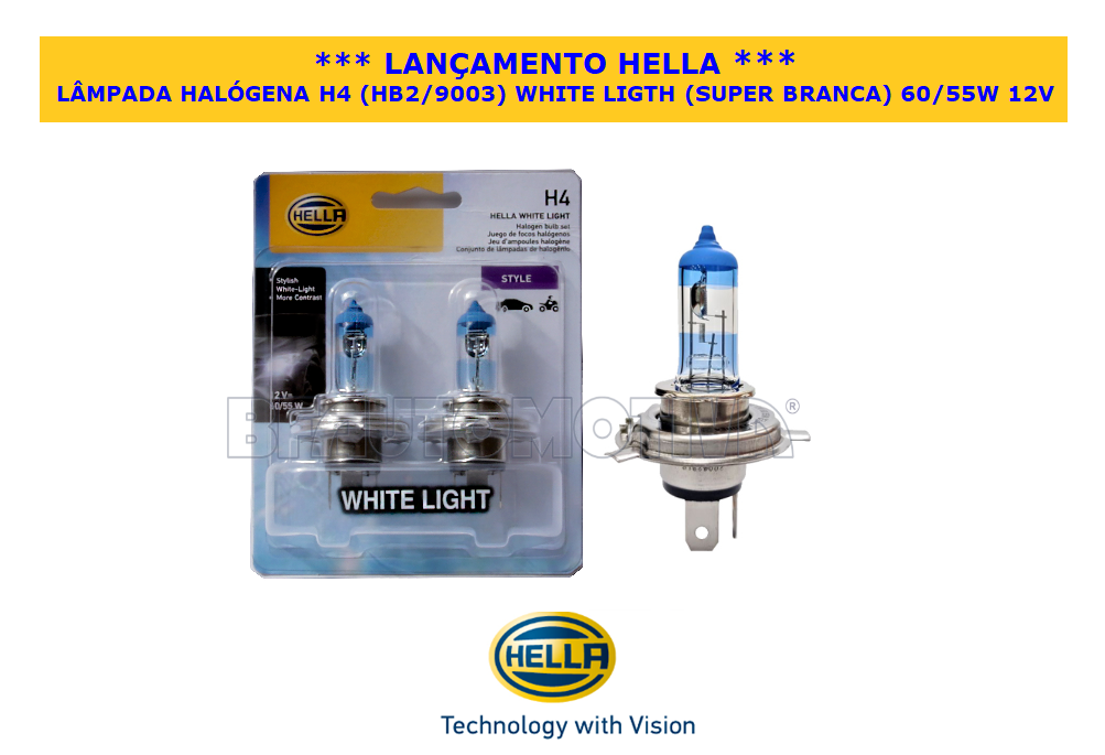 LÂMPADA HALÓGENA H4  WHITE LIGHT (SUPER BRANCA)  60/55W  12V - 100% ORIGINAL HELLA