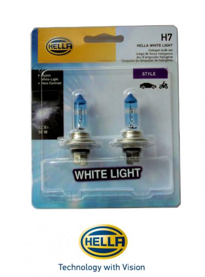 LÂMPADA HALÓGENA H7 WHITE LIGHT (SUPER BRANCA)  55W  12V - 100% ORIGINAL HELLA