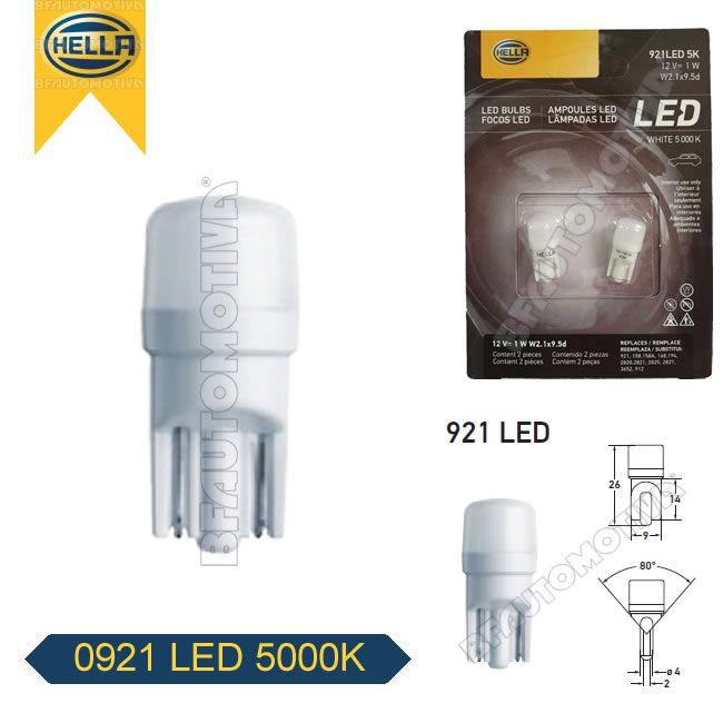 LAMPADA LED 5000K BRANCA 12V - PINGO PINGUINHO PINGÃO ESMAGADA W2W W3W W5W T10 - PAR - ORIGINAL HELLA