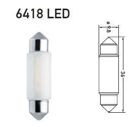 LAMPADA TORPEDO 12V 1W LED 6500K SUPER BRANCA CURTA 6418