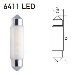 LAMPADA TORPEDO 12V 1W LED 5000K BRANCA LONGA 6411