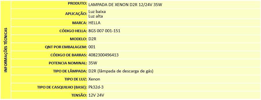 LAMPADA DE XENON D2R 4300K 12/24V 35W