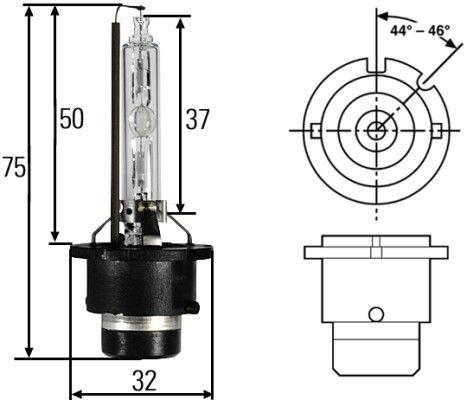 LAMPADA DE XENON D2S 4300k 12/24V 35W ORIGINAL HELLA