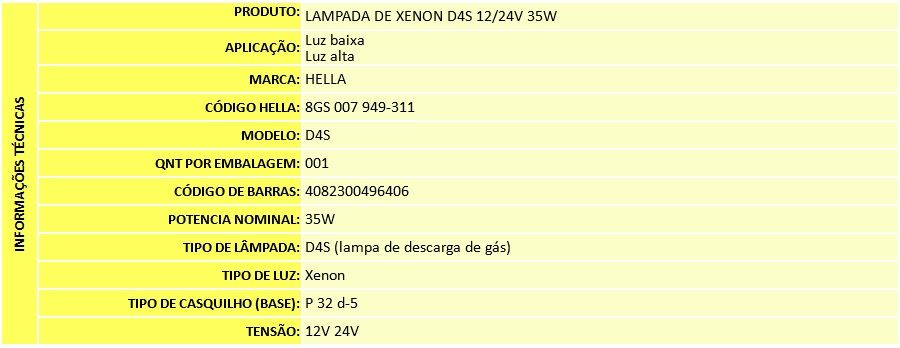 LAMPADA XENON D4S 4300K 12/24V 35W