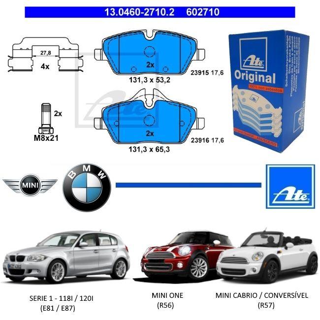 PASTILHA DE FREIO DIANTEIRA BMW SERIE 1 118i 120i E81 E87 2006 A 2011 - MINI ONE R56 2010 A 2013 - MINI CABRIO R57 2009 A 2014