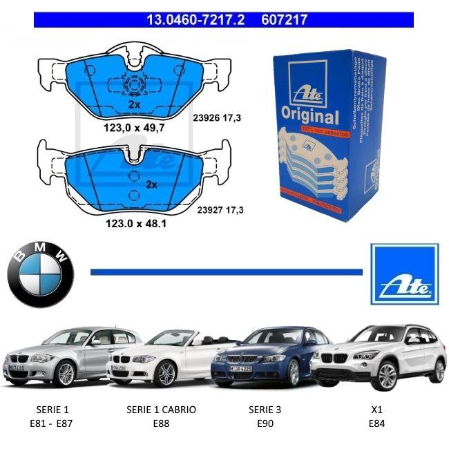 PASTILHA DE FREIO TRASEIRA BMW SERIE 1 E81 E87 2005 A 2011 - SERIE 1 CABRIO E88 2008 A 2013 - SERIE 3 E90 2004 A 2010 - X1 E84 2011 A 2015 - ORIGINAL