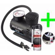 Kit Reparo Pneu Automotivo Compressor + Aerosol Reparador AU400601