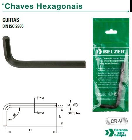 "Chave Allen (Hexagonal) ""L"" Curta de 12,0 mm (BELZER 220009BR)"