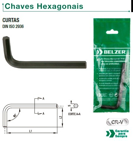 "Chave Allen (Hexagonal) ""L"" Curta de 19,0 mm (BELZER 220013BR)"