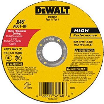 """DISCO DE CORTE FINO - METAL / INOX 4 1/2"""" X 1,0mm X 7/8"""" (DW8062)"""