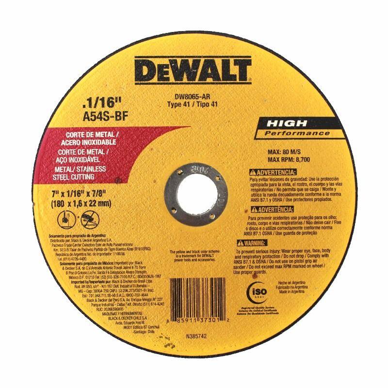 "DISCO DE CORTE FINO - METAL / INOX  7"" X 1,6mm X 7/8""  DEWALT - DW8065-AR"