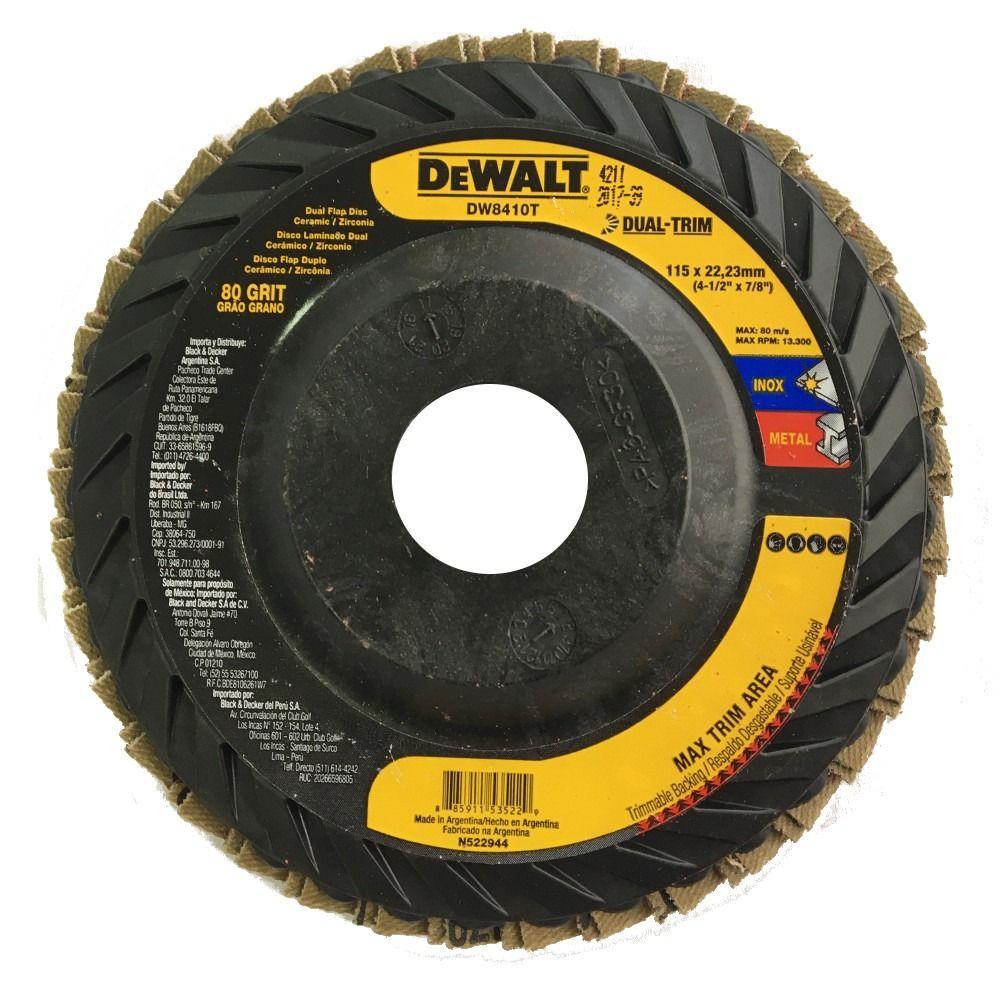 DISCO FLAP DUAL-TRIM 4-1/2x7/8 GRÃO 80 DEWALT - DW8410T