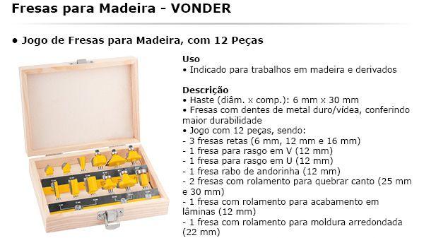 JOGO FRESA P/ MADEIRA C/ 12PC VONDER 5314120120