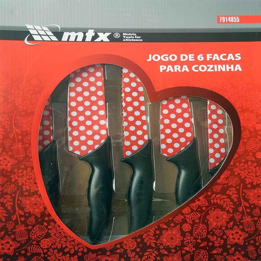 JOGO DE FACAS PARA COZINHA 6 PECAS MTX - 7914855
