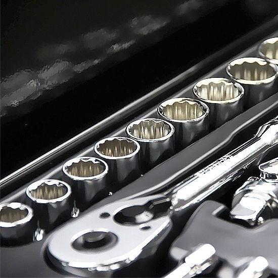 """Jogo de Ferramentas Mecânicas em milímetros e polegadas - 1/2"""" e 1/4""""  - 46 Peças (Stanley 97-196)"""