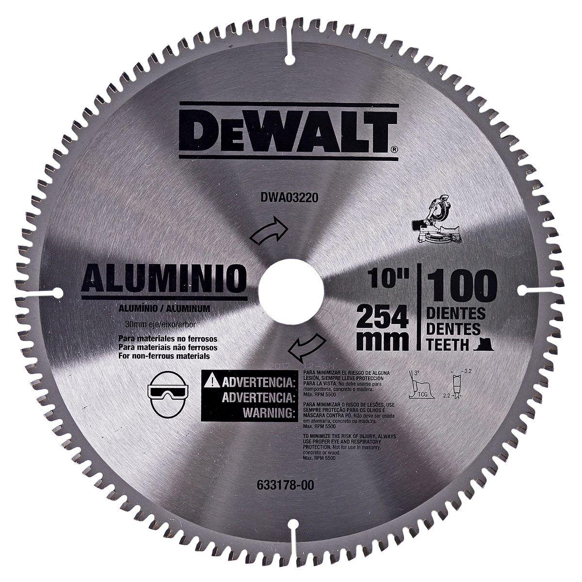LAMINA SERRA ESQ.10 100 DENTES ALUMINIO DEWALT - DWA03220