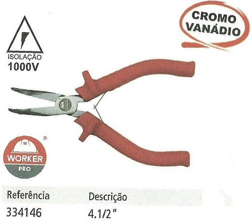 "Mini Alicate Meia Cana Curvo 4 1/2"" 1000V  (Worker 334146)"