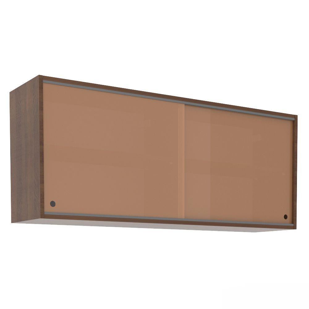 Aéreo de Cozinha 1,20m 2 Portas de Correr Vidro G25125 Glamy Madesa