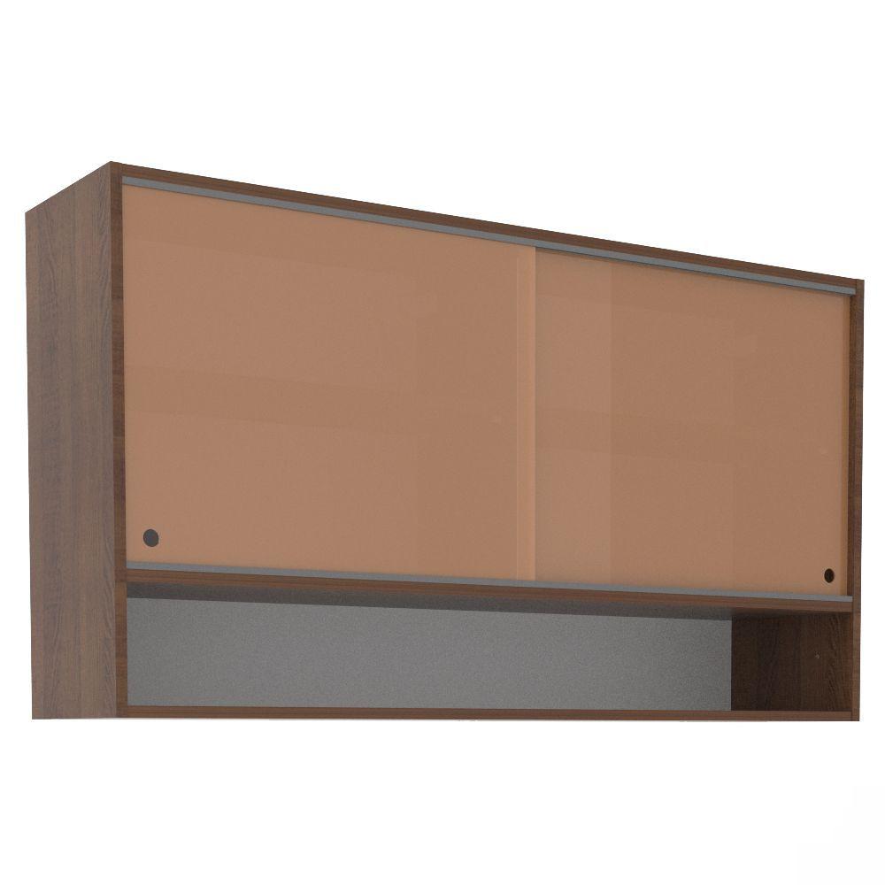 Aéreo de Cozinha 1,20m 2 Portas de Correr Vidro Nicho G25127 Glamy Madesa