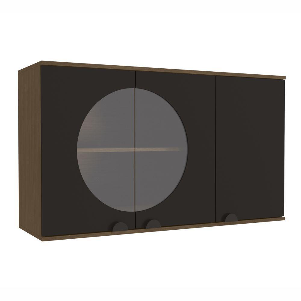 Aéreo de Cozinha 1,20m 3 Portas com Vidro POP PO019 Kappesberg