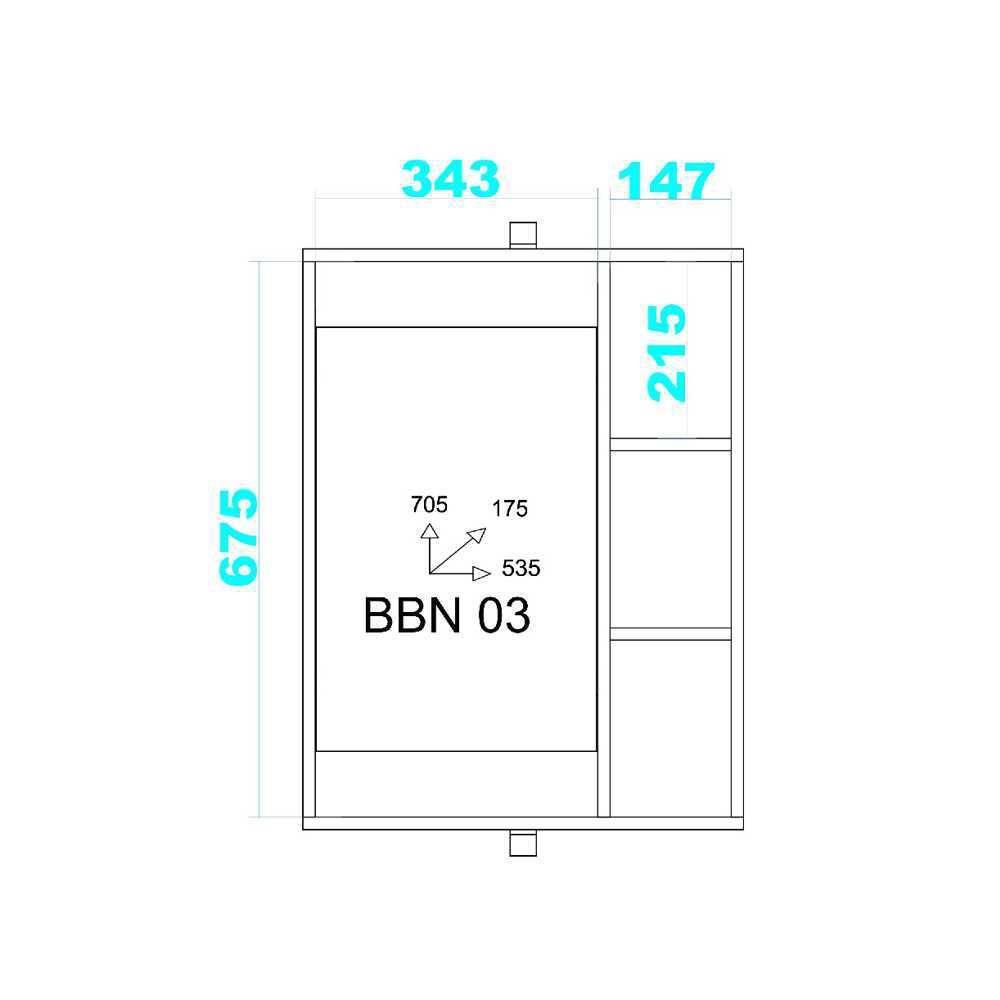 Aéreo para Banheiro 53,5cm BBN 03 BRV Móveis