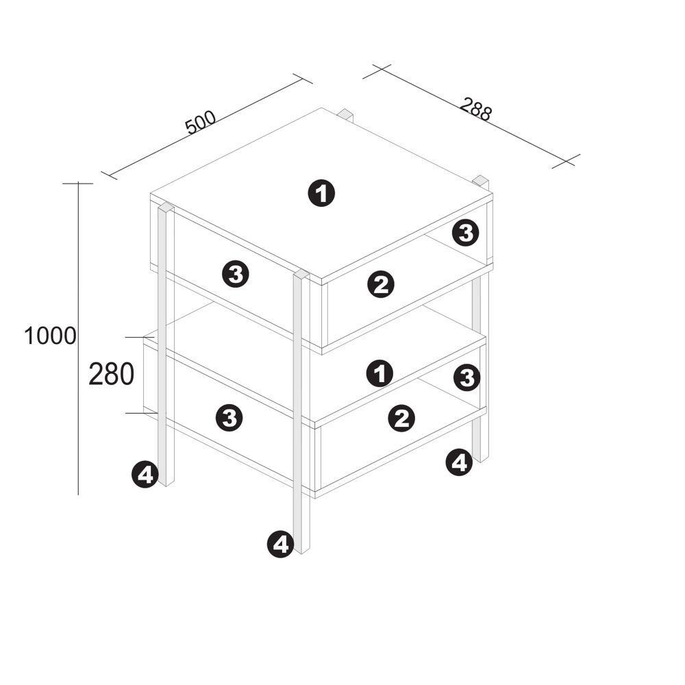 Aparador Multiuso Serra 50x28,8cm Pés Palito BR34 Estilare