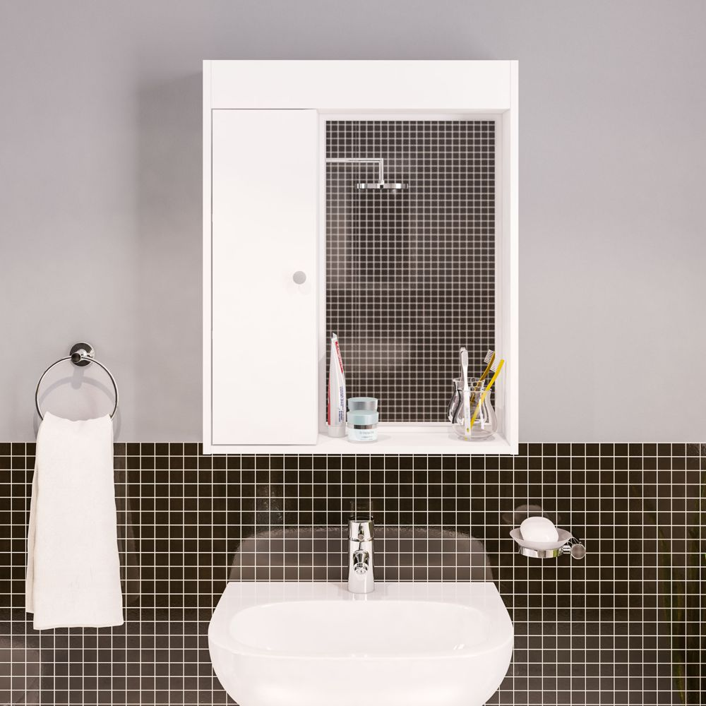 Armário aéreo para banheiro com espelho 1 porta 2 prateleiras 3385 Politorno