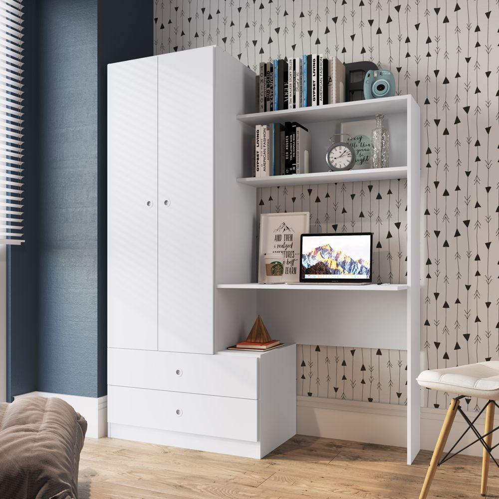 Armário compacto com Roupeiro e Escrivaninha Home Office Ilhéus QC100 Art in Móveis