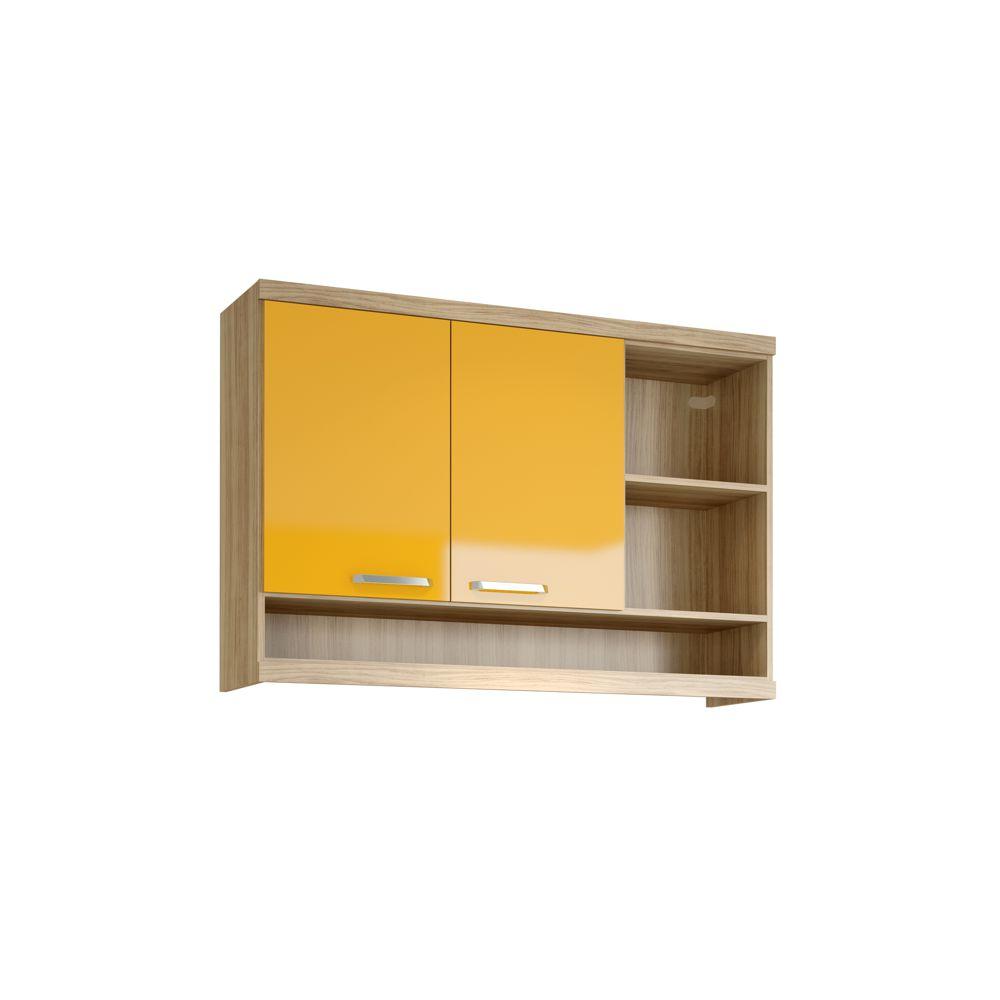 Armário de Cozinha Aéreo 1,20m 2 Portas 3 Nichos abertos 5125 Sicília Multimóveis