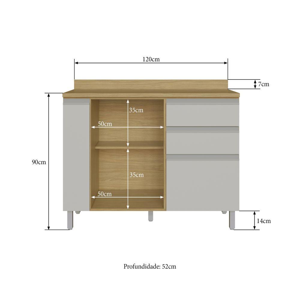 Armário de Cozinha Balcão com Tampo 1,20m 2 portas 3 gavetas Paris 3307 Casamia