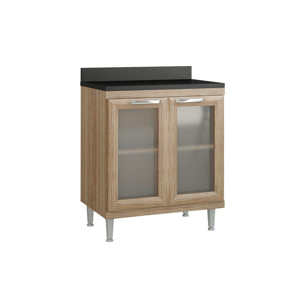 Armário de Cozinha Balcão Duplo 70cm 2 Portas de vidro com Tampo 5122VD Sicília Multimóveis
