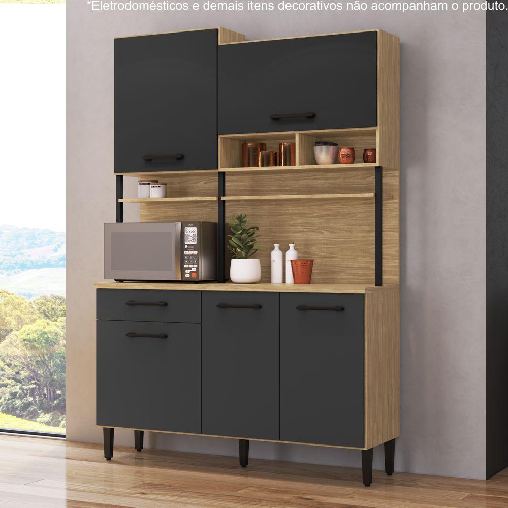 Armário de Cozinha Completo 1,40m 5 Portas 1 Gaveta Maori 185 Casamia