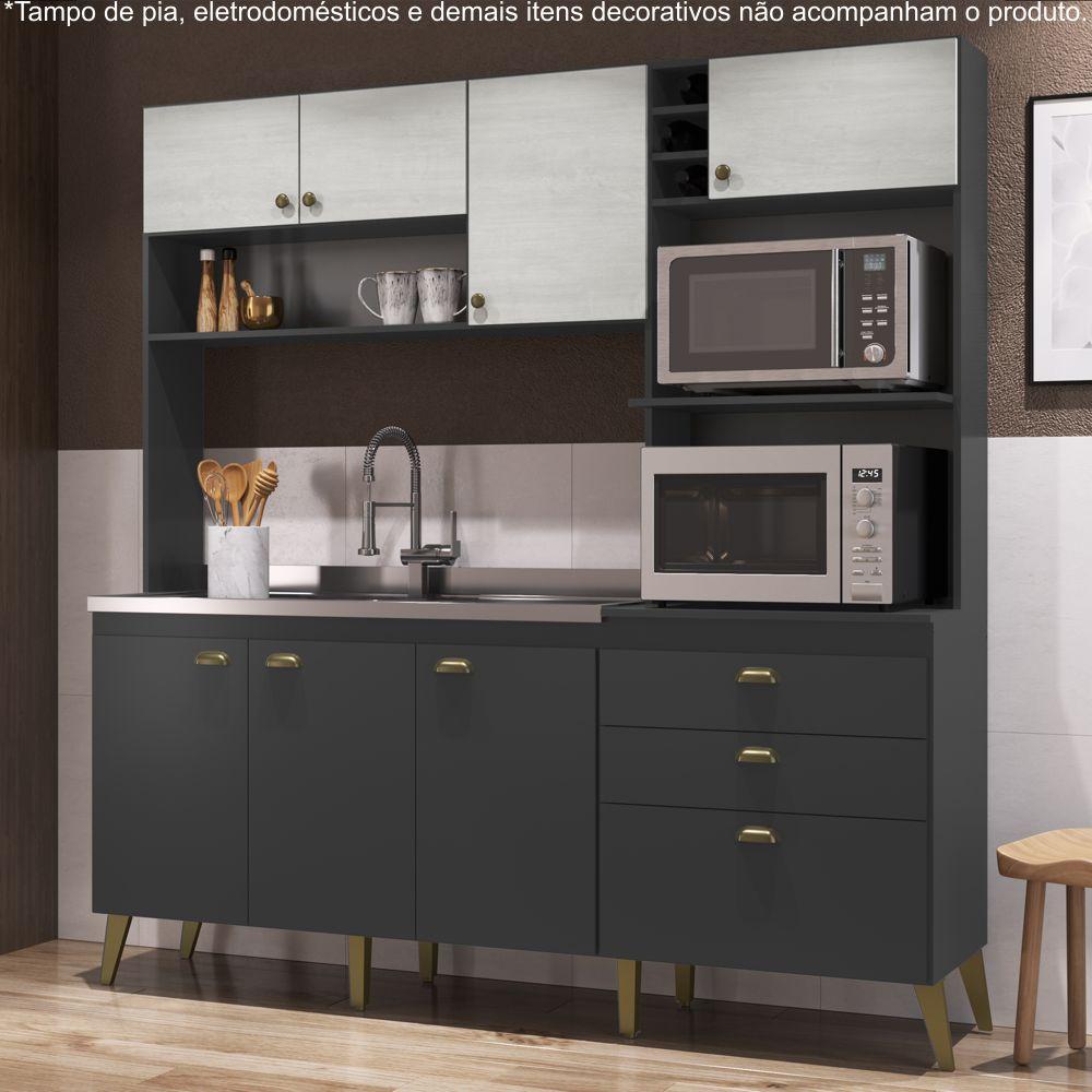Armário de Cozinha Completo 1,86m Espaço para 2 Fornos Donna 299 Casamia