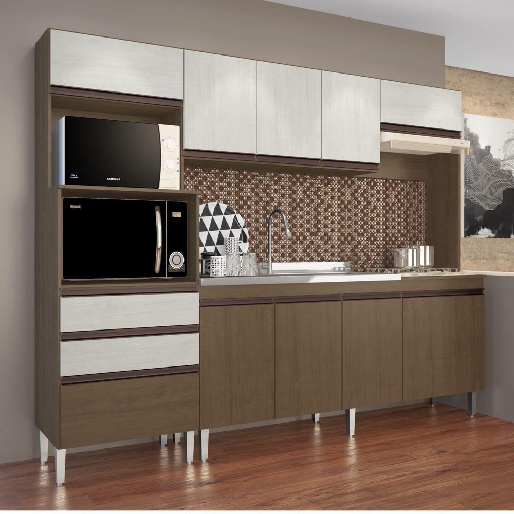 Armário de Cozinha Completo 2,50m Espaço para 2 Fornos Ariel 268 Casamia